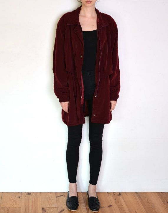 90's silky burgundy parka coat oversized by WoodhouseStudios