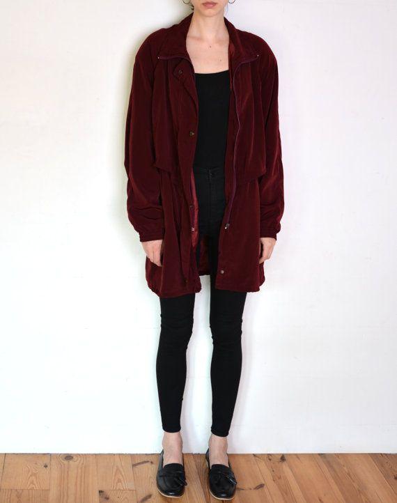 90's silky burgundy parka coat oversized by WoodhouseStudios