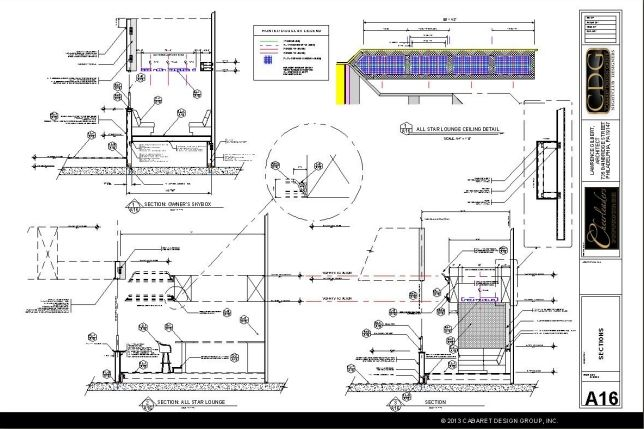 Nightclub design projects at Cabaret Design Group begin with a detailed plan such as the one shown here