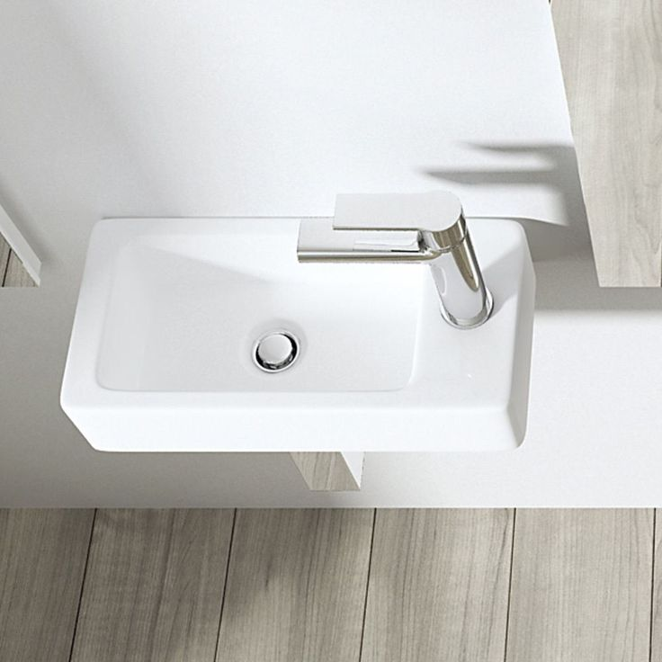 Durovin Small Compact Rectangle Cloakroom Basin Sink Wall Mount Hung Right C29