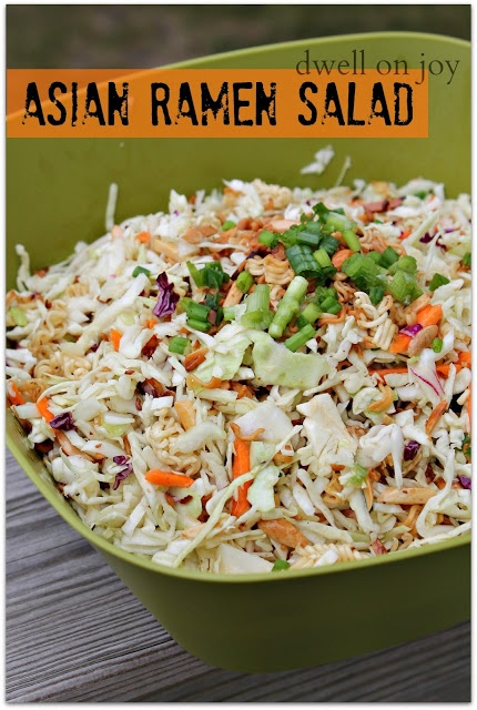 Asian Ramen Salad-can add grilled chicken, napa cabbage, finely chopped peppers, green onions, & sweet & sour dressing.