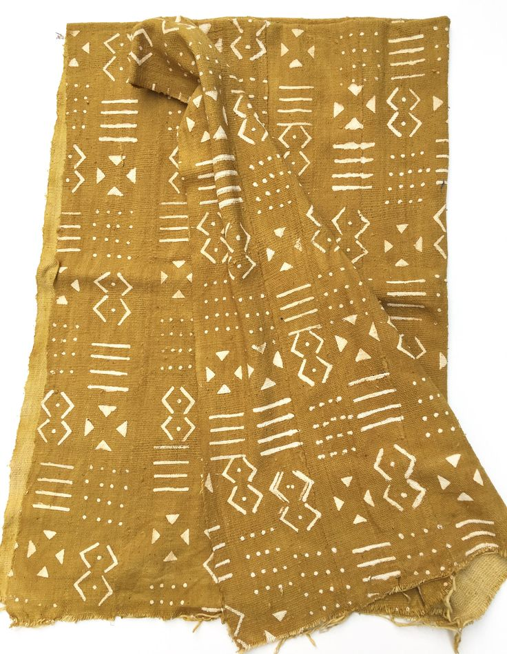 Mud Cloth, Mustard color with tribal pattern. Prewashed
