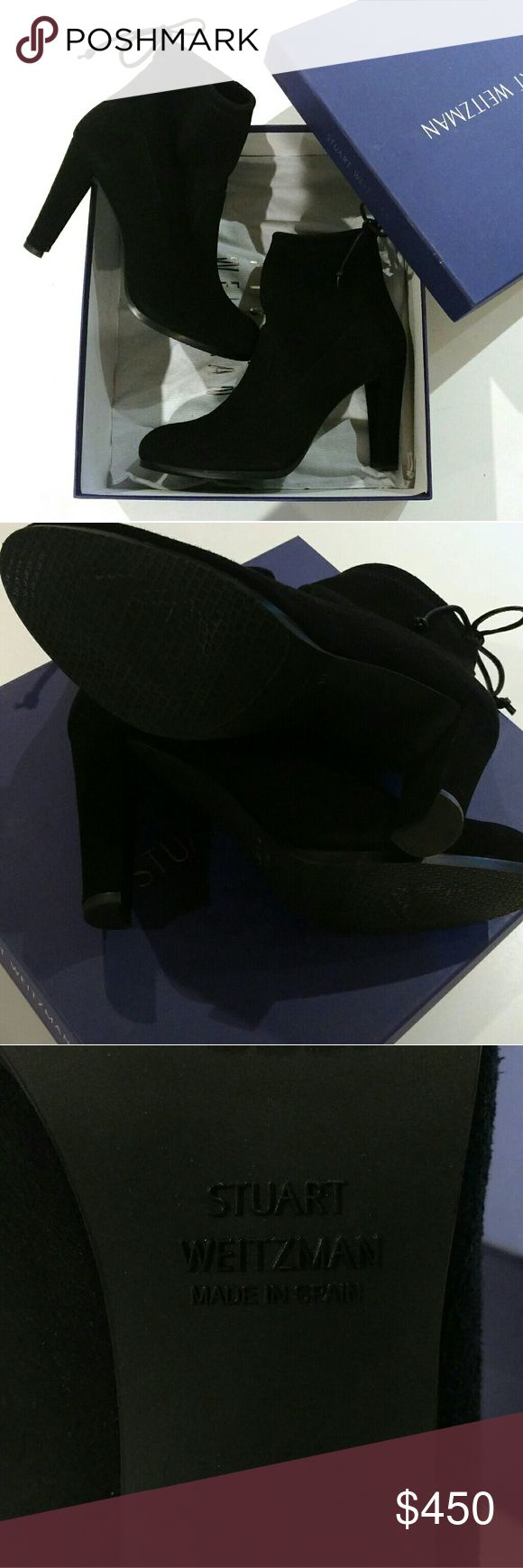 NIB💥Stuart Weitzman Mitten Perfection Glove Boot Versatile + chic New in box black suede leather boots by Stuart Weitzman, same style as the coveted Highland with an ankle boot sihouette.  Crafted in Ultrastretch Suede, signature tie closure at top in 100% Goatskin leather.  Made in Spain, $595 + tax retail.  'New in box, Nordstrom Exclusive. No❌Trades|No❌Lowballers.  Modeled by Gigi Hadid, stock photos shown to display fit.  22% off PRICE DROP.  💥SOLD OUT!💥 Stuart Weitzman Shoes Ankle…