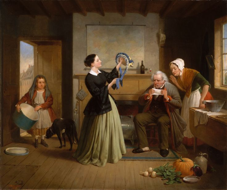 https://flic.kr/p/da5h9k   Francis William Edmonds - The New Bonnet [1858]   This work, the last the artist exhibited at the National Academy of Design, exemplifies his gently moralising approach to genre painting. In a setting influenced by the established formulas of seventeenth-century Dutch masters, Edmonds (American, Hudson, New York, 1806 - Bronxville, New York, 1863) contrasts the daughter's extravagant purchase with the faults of her disapproving parents. The father's bottle and…