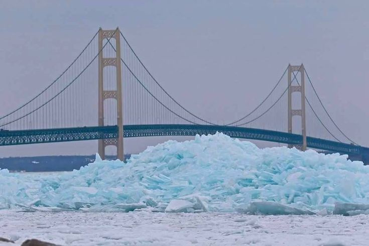 """Images of """"blue ice"""" at the tip of the Mitten are finding lots of fans this week."""