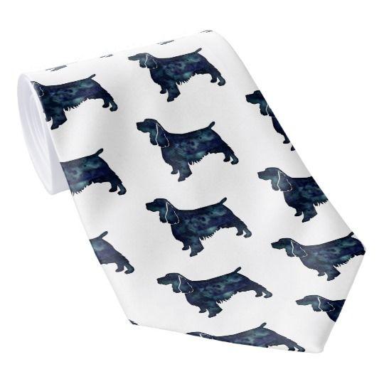 springer spaniel dog black watercolor silhouette neck tie