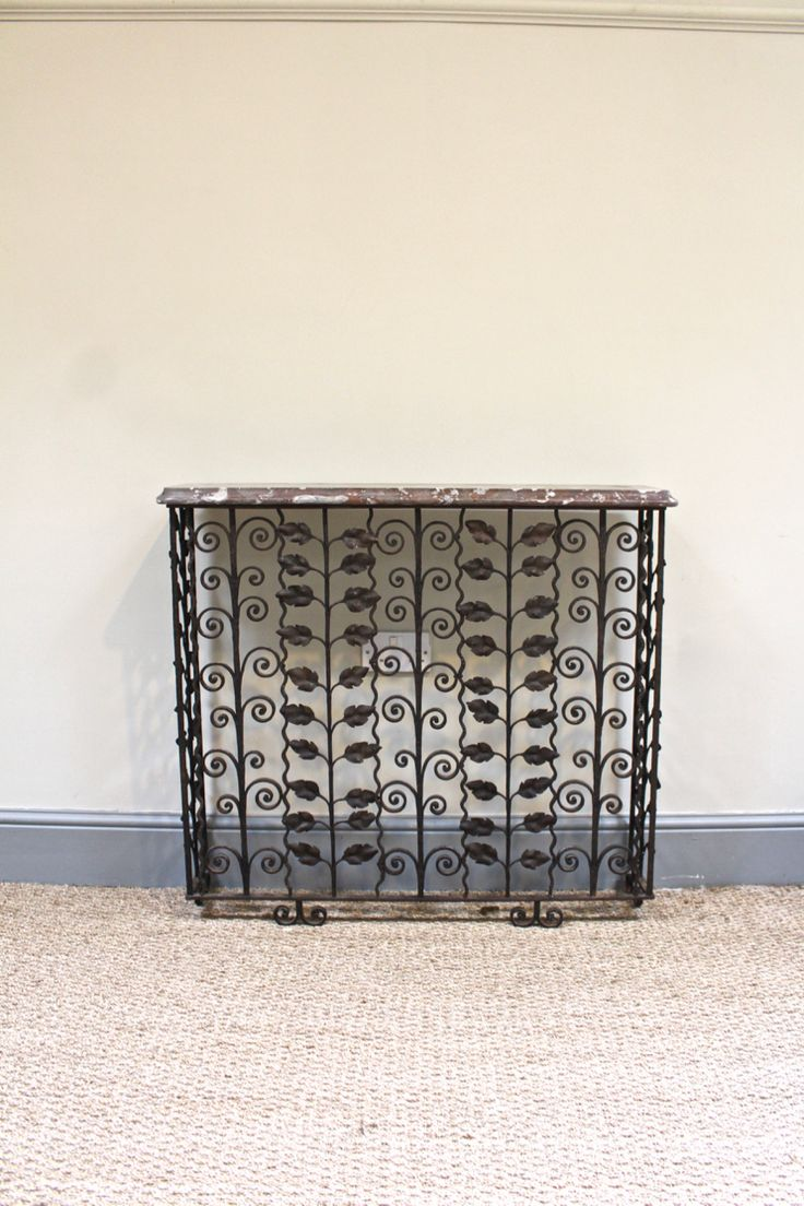 a very stylish early 20th century french wrought iron console table in the form of