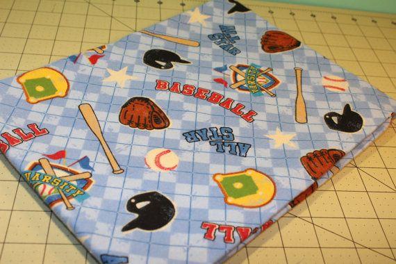 Single Layer Rolled Hem Receiving Blanket Baseball by KRaeDesign