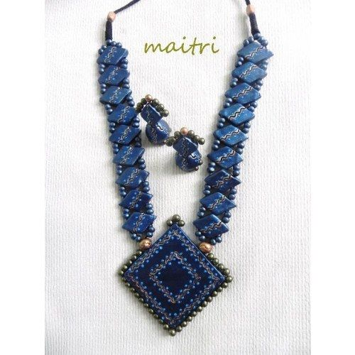 Terracotta Jewellery_The Exclusive Blue Royal - Online Shopping for Necklaces by Maitri Crafts