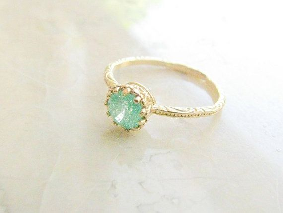 Gold druzy ring gold ring gold ring with green by MoonliDesigns