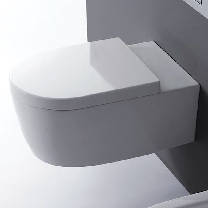 From Blu Bathworks of Vancouver, the Blu Bathworks Metrix Wall-Mounted Dual-Flush Toilet is decidedly modern in form and function. The toilet bowl is $438.75 at Quality Plumbing. The corresponding Duroplast soft closing quick-release seat is $97.50.