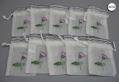 10 Thistle Embroidered Scottish Wedding Favour Drawstring Bags