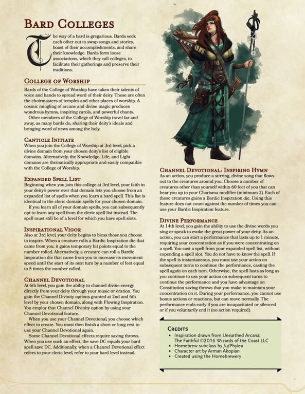 College of Worship - A Divine Bard Subclass : UnearthedArcana