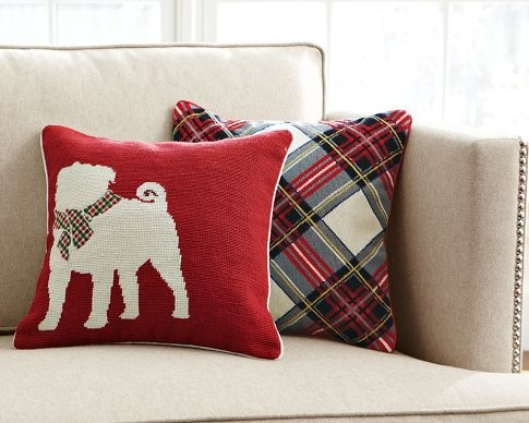 These Williams-Sonoma pillows would be fun to make...now I just need a St. Bernard outline....
