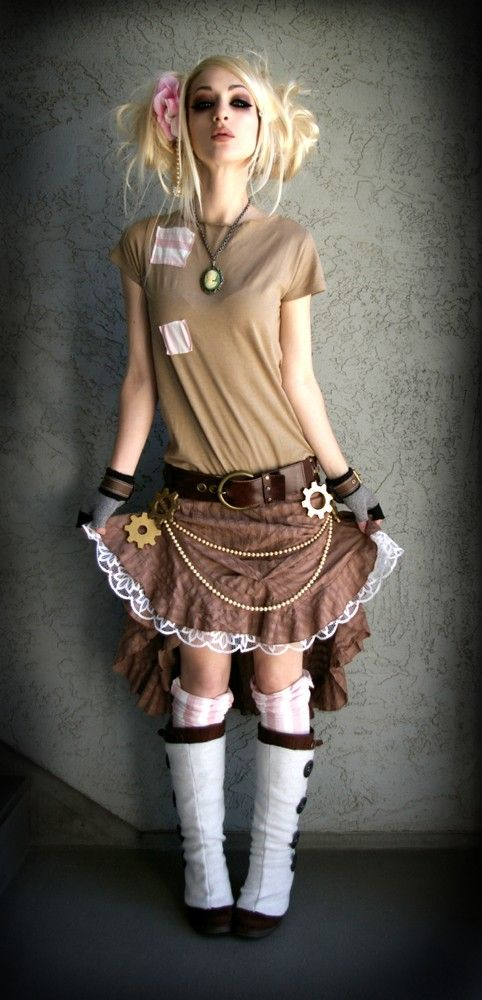 Steampunk Couture brown stripe ruffle skirt with pearls and gears via Etsy #provestra