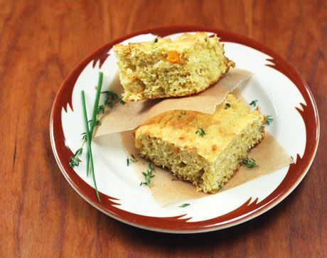 Cornbread New England style- with fresh corn, herbs and buttermilk. (Use 1 cup brown rice flour blend to make it gluten-free.)