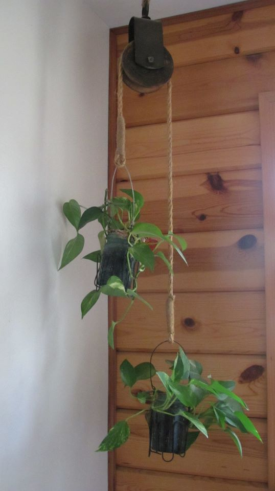 Old barn pulley turned dual plant hanger - from Re-Scape