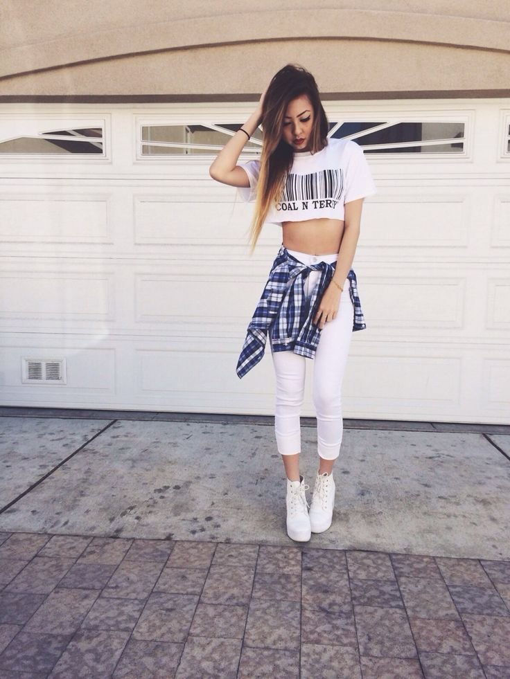 White Skinny Jeans. White Midriff. White Lace Up Boots. Blue Plaid Shirt. White Outfit. Urban Fashion. Urban Outfit. Hip Hop Fashion. Hip Hop Outfit. Swag. Dope. Streetwear