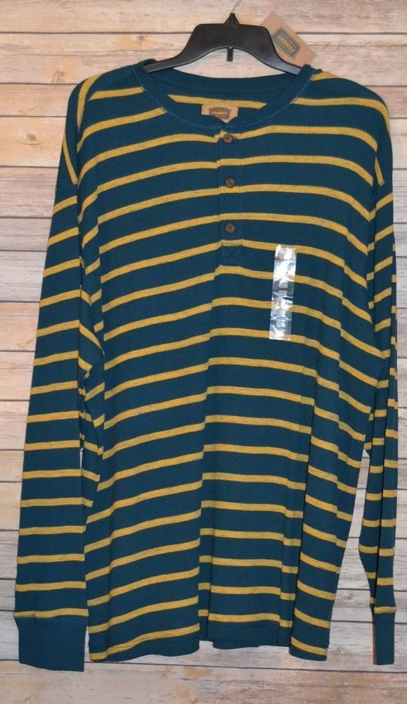 e199d44e MENS FOUNDRY THERMAL HENLEY SHIRT BIG & TALL SIZE: 2XLT TEAL BLUE MUSTARD  STRIPE #Foundry #HenleyThermal