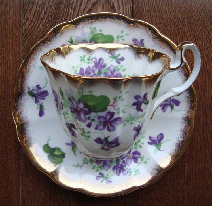 Royal Adderley - Fine Bone China England - Vintage Tea Cup and Saucer - Purple…