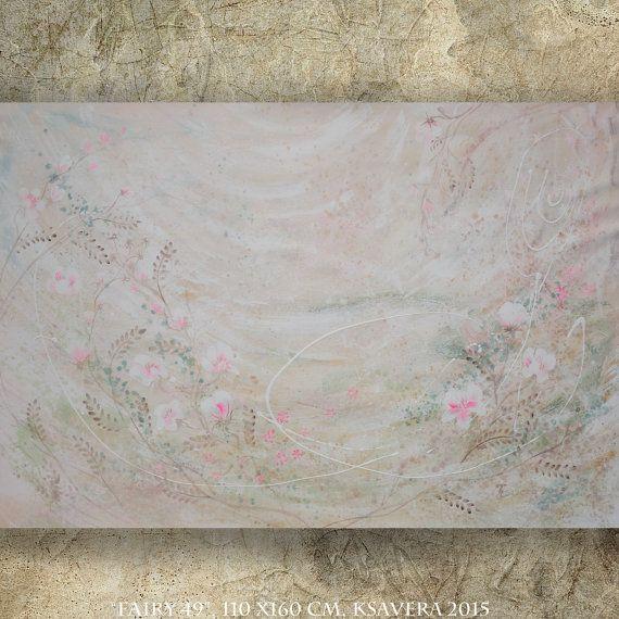 Shabby chique schilderij grootformaat kunst van KsaveraART op Etsy