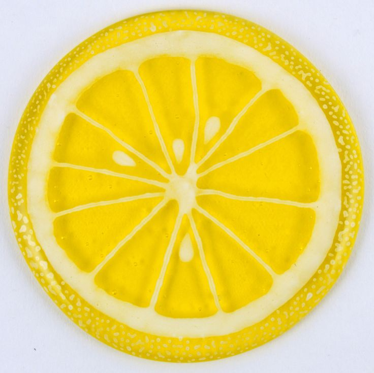 Fused Glass Coaster - Fruit Slice – Lemon - £9. Hand painted with a paint that is permanently fused into the glass. Diameter approximately 10cm, with clear rubber bumpers on the base to keep them in place and protect your furniture. www.glassbygenea.co.uk #fusedglass