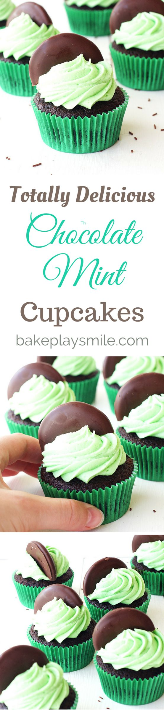 The most deliciously simple Chocolate Cupcakes with Mint Frosting AND chocolate mint cookies for the cutest decoration!!! So easy and pretty! #chocolate #mint #cupcakes #easy #recipe