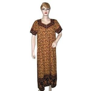 Light Brown Caftan Womens Cotton Kaftan Evening Lounge Gowns (Apparel)