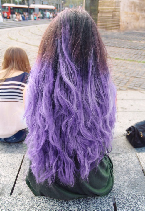 If I could color my hair any color this would be it. But with dark purple at the roots and white tips