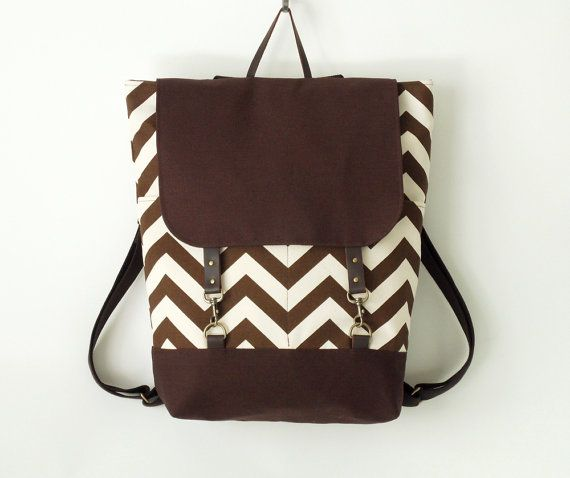 Brown chevron backpack, laptop backpack, school bag, 2 front pockets, Design by BagyBags on Etsy, $109.37 AUD