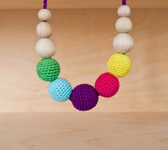 Mini Rainbow Nursing Necklace/Teething Necklace by Simplyacircle