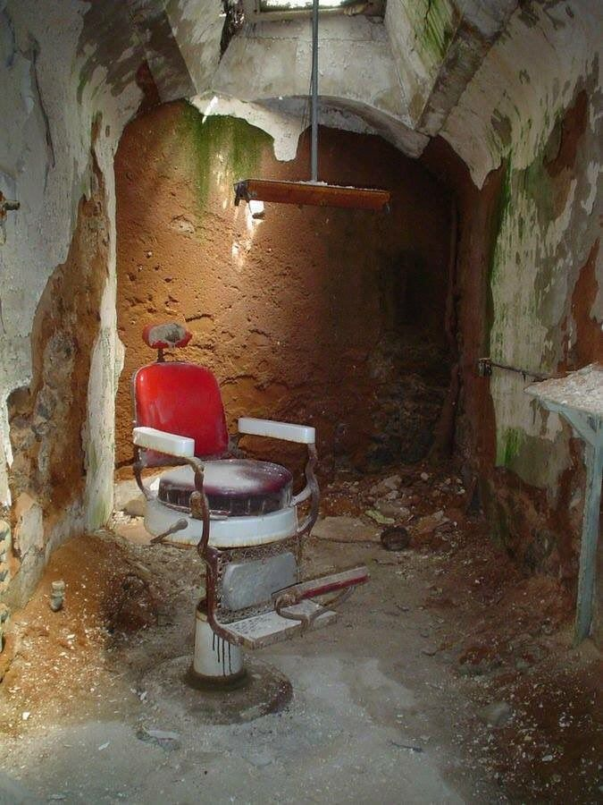 Barber's chair in the Eastern State Penitentiary, also known as ESP, is a former American prison in Philadelphia, Pennsylvania. It is located at 2027 Fairmount Avenue between Corinthian Avenue and North 22nd Street in the Fairmount section of the city, and was operational from 1829 until 1971.