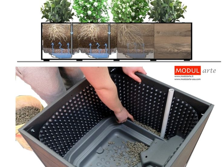 SELF WATERING SYSTEM insures the right humidity ratio of the topsoil even in summer, without having to water every day (depending on the season and type of plant, the water reserve can last up to 7-30 days).