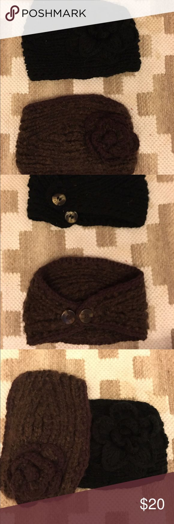 Crocheted beanie Like new! Worn maybe once. These will be sold as a pair. One black and one brown. LOOK CLOSELY to see the flower on the black beanie (sorry it's hard to see). Both beanies have a flower on them and adjustable buttons in the back adding a little extra flair! These fit around your ears and forehead like a headband/earmuffs. Accessories Hats