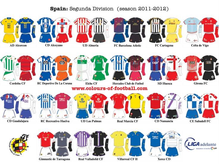 Uniformes de futbol Liga Adelante - Espana
