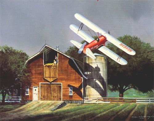 """Nixon Galloway's """"Barnstormer"""", the first """"proper"""" piece of aviation art that I bought. The kids in the barn remind me of me, growing up on an airstrip, though the low passes were never quite *that* low."""