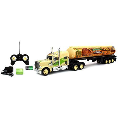 Velocity Toys Camel Jungle Express 12 Wheel Semi Trailer Battery Operated Remote Control RC Truck Rechargeable 1:36 Scale Ready To Run RTR (Styles May Vary)