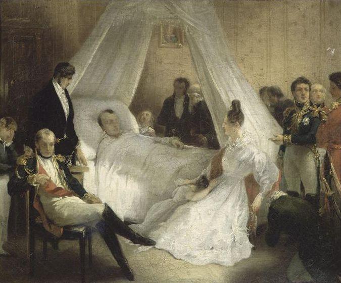 """Napoleon stierf op 5 mei in het jaar 1821. Er werd aangenomen dat hij overleden was aan kanker, maar uit verder onderzoek bleek dat in zijn haar een grote hoeveelheid arseen aanwezig, wat kon wijzen op moord. Een paar jaar later werd nog een onderzoek gedaan en daaruit bleek dat het arseen al aanwezig was voor hij verbannen werden, dus de echte doodsoorzaak is nog steeds niet bekend.   Laatste woorden: À la tete de l'armee (""""Aan het hoofd van het leger"""")."""
