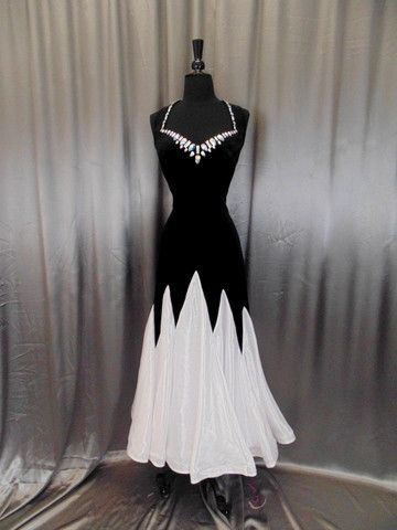 Love this silhouette so much. Not necessarily black/white. Maybe a royal blue and a lighter blue for the chiffon bottom.                                                                                                                                                      More