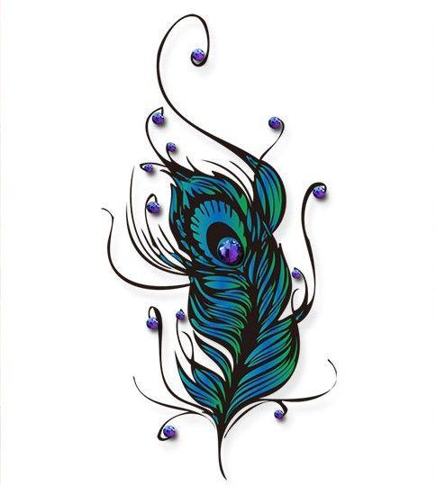 piuma del pavone di lusso tatuaggi per braccio spalla lower back ...