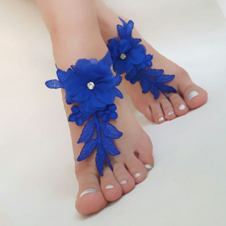 Royal Blue Lace Barefoot Sandals 3D Flowers Beach Wedding Handmade Lace Shoes Bridesmaids Gift Anklets Bridal French lace Bangles 10 color   Pinterest   Barefo…