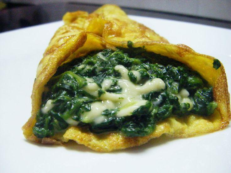 Omelette con spinaci e gorgonzola