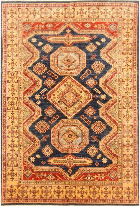 Kazak Pakistani rug. Wool. Hand Knotted. 147 x 219 http://www.rugman.com/pakistani-kazak-design-oriental-area-rug-medium-size-wool-yellow-rectangle-250-20457
