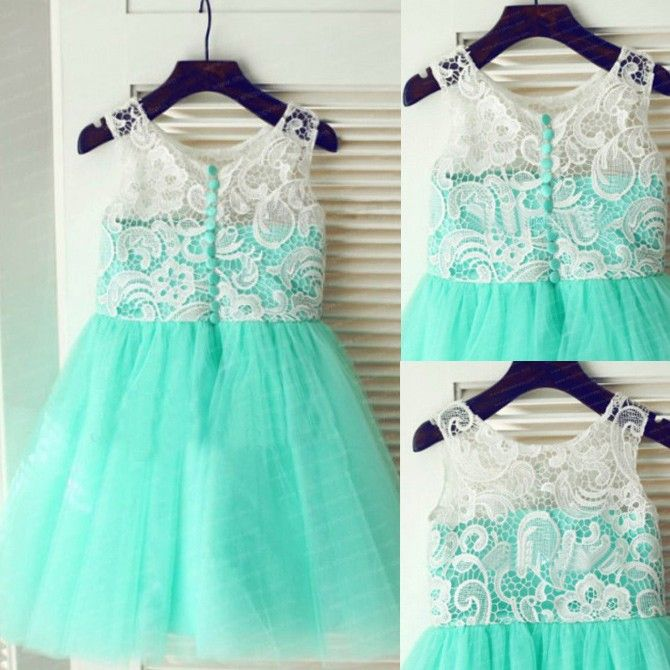 Buy Cute Mint Green Flower Girl Dresses with White Lace Flower Girl Dresses under $49.99 only in Dressywomen.