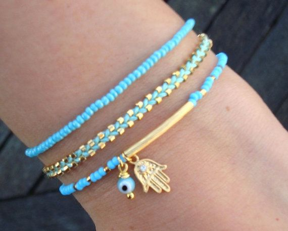 Evil Eye Beaded Hamsa Bracelet