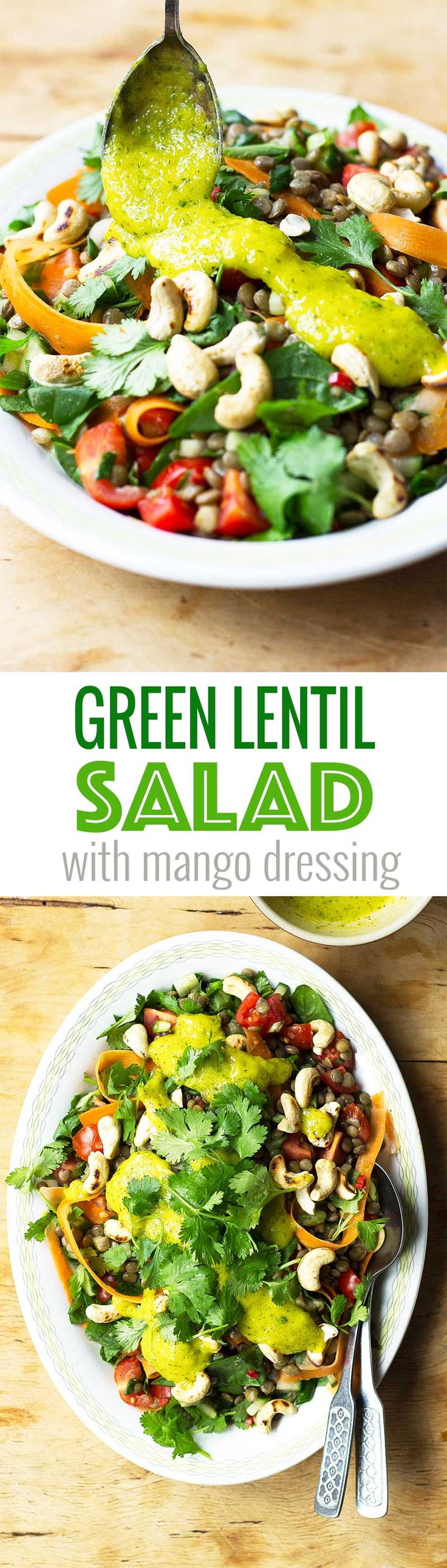 Green Lentil Salad with Mango Dressing! A delicious salad that's packed with flavour! This lentil salad is perfect for a midweek dinner and keeps really well too, making it ideal for packed lunch too! Vegan and gluten free! Get the recipe at www.nutritionistmeetschef.com