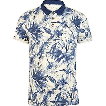 Blue floral print polo shirt - polo shirts - t-shirts / vests - men