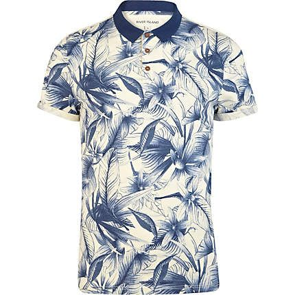 Blue floral print polo shirt - polo shirts - t-shirts / vests - men: