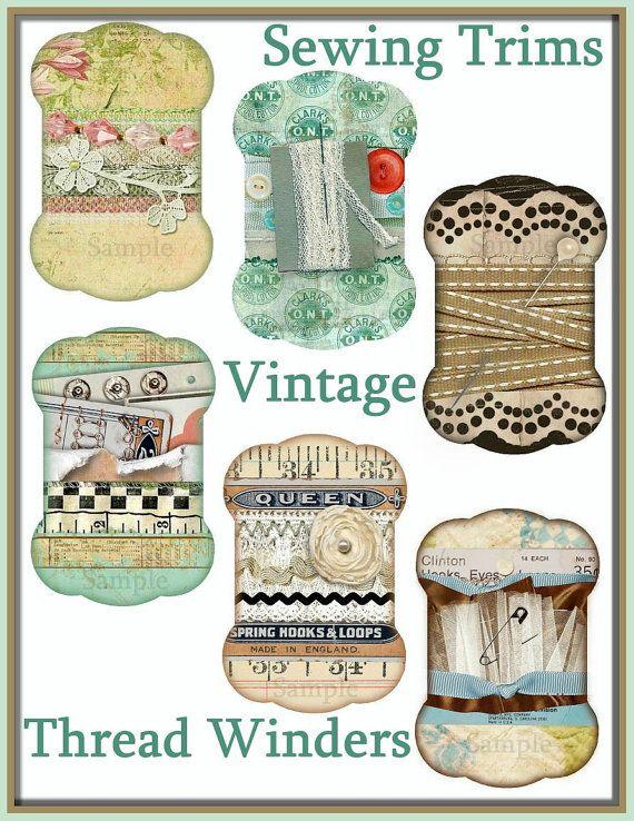 INSTANT DOWNLOAD Vintage Sewing Trims Thread by SenecaPondCrafts, $2.00