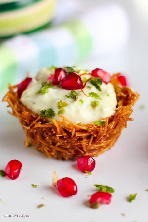 Vermicelli Shrikhand Dessert Recipe is a very innovative dessert recipe and can be made easily at home with some practice. At first glance, it looks difficult but believe me it's not. I simply love this dessert recipe as it will enhance your style of making food for parties and will make you very innovative. Shrikhand is a...